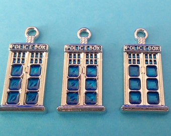 3 SMALL Silver and Blue Tardis Charm   Doctor Who Police Box   2000