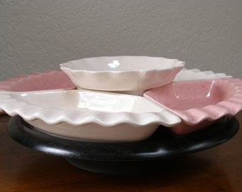 Vintage 5 Compartment Pink and White Hors d' oeuvres Lazy Susan Tray Partyware