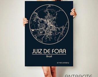 Juiz De Fora Brazil CANVAS Map Poster City