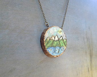 Mountains and Ocean, Woodburned live edge birch pendant necklace,Magestic mountains and waves, clouds and an eagle, brass chain and clasp
