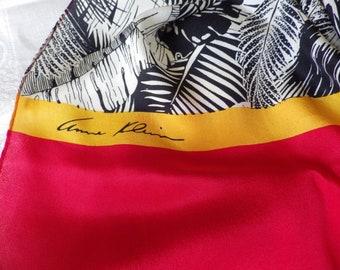 1980s Vintage Silk Scarf Rectangular Red Black White Gold Signed Designer