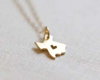 Gold Texas Necklace with Heart