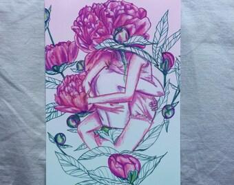 Peonies lovers Print - Lovestruck Print - 5x7 print