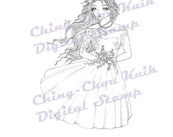 Intro Price- Autumn Blessing - Digital Stamp Instant Download / Fall Wind Flower Bride Fairy Girl Fantasy Line Art by Ching-Chou Kuik