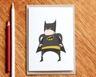 Fat Batman, Superhero Birthday, Batman Birthday Card, Superhero Card, Batman Gift, Husband Card, Dad Card, Boyfriend Card, Geek Birthday