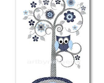 Tree Nursery Print Digital Art Digital Print Download Art Printable Nursery Art Baby Boy Nursery Decor Baby Art 8x10 11X14 INSTANT DOWNLOAD