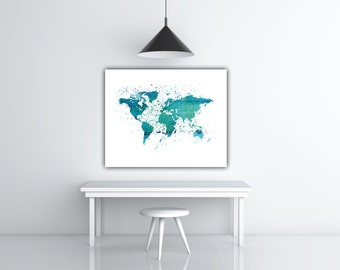 Blue watercolor world map world map poster watercolor world instant print earth poster printable world map digital poster world poster watercolor world map download blue world map poster printable gumiabroncs Images
