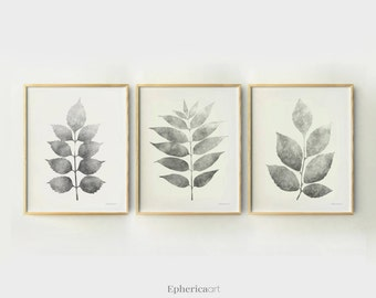 Botanical Triptych art set, Monochromatic art, Grey prints 3 piece print set, 11x14 prints, Modern decor set, Botanical home decorations