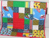 "Baby Quilt, Handmade Baby Quilt, ""Thomas The Train"" Quilt, Modern Baby Quilt, Baby Gift, Newborn Gift, Toddler Gift, Holiday Baby Gift,"