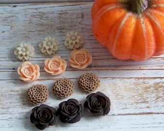 Resin Flower Set, Resin Flowers, Autumn Resin Flowers, Flower Cabochons, Scrapbook Flowers, Resin Flower Assortment, Resin Flower Collection