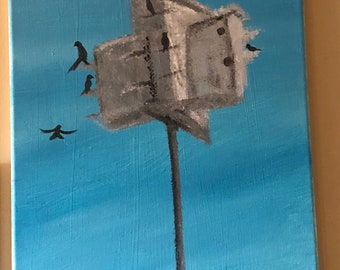 Edgewater Birdhouse Acrylic Painting 12 x 24