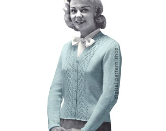 50s Cardigan Knitting Pattern Lace Trimmed Knit Sweater Pattern Jumper Button Front Womens PDF Instant Download - K56