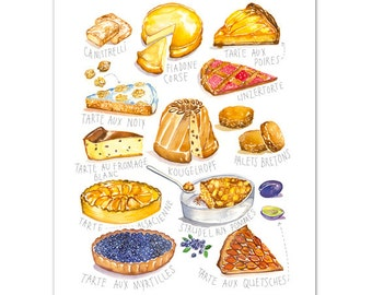 Kitchen poster, Watercolor cake illustration print, French kitchen decor, Food poster, Pastry art, Colorful poster, Kitchen wall art print