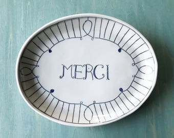Porcelain Serving Tray | Serving Platter | Hostess gift | French Country plate | Blue and White plate | Merci