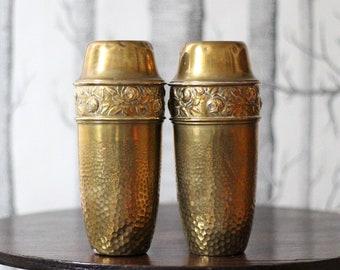 Unusual pair of vintage brass vases