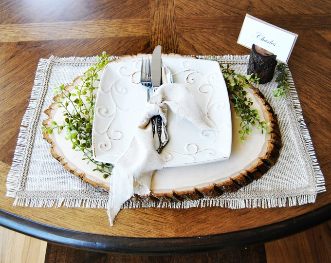 """Burlap placemat with frayed edges and decorative trim 12"""" x 18"""" size"""
