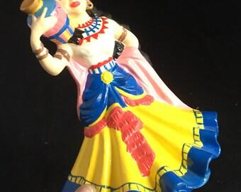 Vintage Spanish Senorita ceramic figurine. Spanish senorita with tradition costume holding a jug. Spanish souvenir.