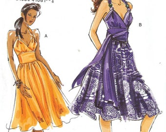 PATTERN Vogue 8381 Fitted & flared Dress with crossover bodice wide waist Cut to Size 8