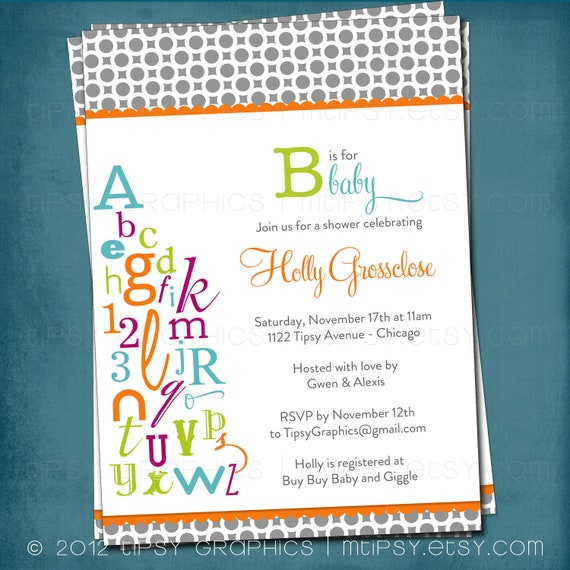 Alphabet Baby Shower Invitation ABC Library Invite Bring a