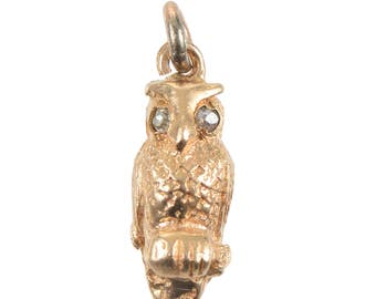 14KT Gold and Diamond Owl Charm/Pendant
