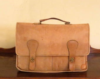 Dads Grads Sale Coach Briefbag In Saddle Leather With Brass Hardware- Style No 5080- Made In The Factory In New York City- Beautifully Worn