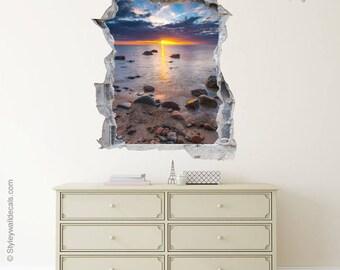 Loch in der Wand 3d Effekt Wand Aufkleber Sea View
