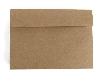 "50 A7 Kraft Envelopes   5.25"" x 7.25"" Envelopes   Rustic Kraft Brown Envelopes   Grocery Bag Envelopes   Recycled Brown Kraft Envelopes"