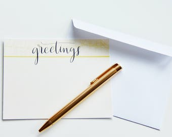 Greetings- Set of 10- Hand Lettered Notecards (With Envelopes)