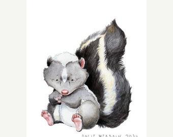 Sale Skunk Watercolor, Skunk Art Print, Baby Skunk, Woodland Animal, Woodland Nursery, Woodland Decor, Watercolor Nursery, Nursery Art, Skun