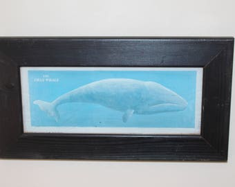 The gray whale frame picture, vintage wooden picture frame, vintage whale, blue whale, wood wall art, whale wall picture, old wooden frame,