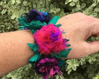 womens bracelet, recycled silk bracelet, floral  bracelet, recycled silk  flower cuff, rose bracelet, purple pink