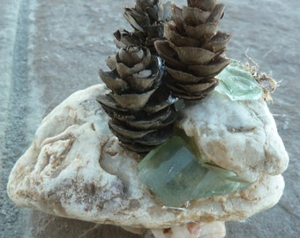 Mountain glass, Colorado stones and tiny pinecones created this miniature sculpture, original and unique handcrafted, zen rock garden