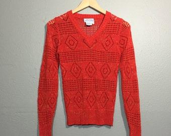 Vintage 60 ' s Crochet rouge V cou pull Top Diamond motif XS Fit petit fil métallique