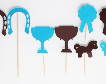 8 sets for your birthday-pony club - Brown turquoise theme cakes