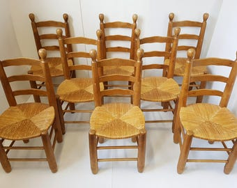 Set of 8 chairs 1960 vintage oak and straw in the taste of Charlotte Perriand 60s 60's