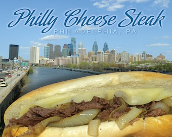 Philadelphia PA Skyline Philly Cheese Steak Postcard