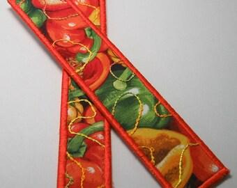 Pepper bookmark -- orange trim -- chicken wire backing