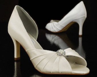 "Wedding shoes, 2.5"" heels, Peep toe, silk satin, crystals, 250 custom hand dyed colors, bridal shoes by Pink2Blue"