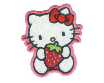 Hello Kitty Iron On Applique, Hello Kitty Patch, Hello Kitty Applique, Strawberry Patch, Kids Patch, Embroidered Patch, 2.5 x 3 inches