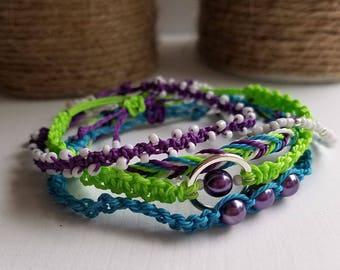 Purple, Lime Green and Turquoise Surfer Bracelet Pack, Friendship Bracelet Set, Waterproof Wax Cord, Adjustable Boho Bracelet, Set of 5
