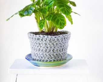 Handmade Planter Cover, Crocheted Wool Planter Sweater in Cool Gray by RiverStone Pottery