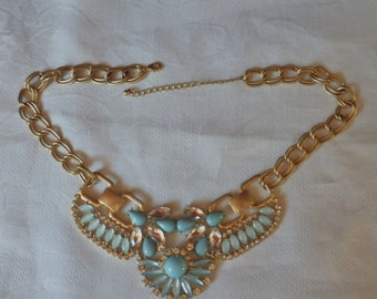 Vintage Chunky Blue and Clear Glass Bib Necklace