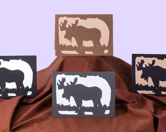 Blank All Occasion Card, Silhouette Moose Card, 5x7 Wildlife Papercut Scherenschnitte Greeting Card, Blank Card for Nature Lovers, Canadiana