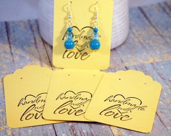 Soft Yellow  Earring Cards, Card Stock Paper Earring Cards, 20 Earring Cards, Supplies, Seller Supplies, CKDesigns.US