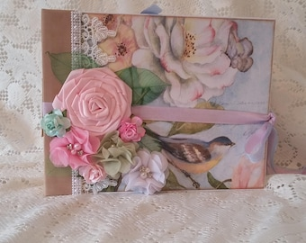 Floral, Birds and Butterflies Scrapbook Album, 9.5 x 7.5 Scrapbook Photo Album, Custom Photo Book