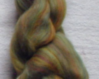 Merino Wool Roving, combed top, Sage Multi Color Fiber for Spinning or Felting, commercially dyed.