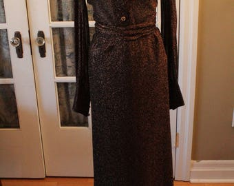 1980's Sparkly Copper Lamé Blouse Maxi Skirt
