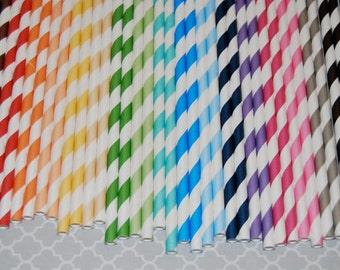 """Paper Straws - 100 stripe straws - drinking straws """"YOU PICK COLORS"""" - with Flags / Pendants- See details"""