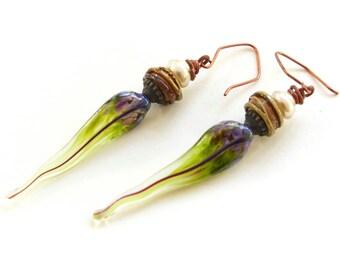 Handmade Glass Feather Earrings - BOHO Rustic Pearl Dangle Earrings - Lime Green and Eggplant Purple