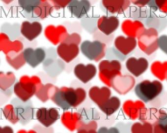 Heart Background / 14x18 / Scrapbook Paper / Heart Paper / Valentines Paper / Modern Heart / Digital Instant Download / Valentine Print